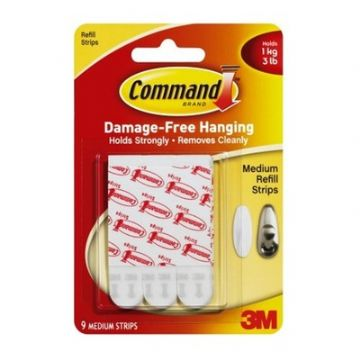 COMMAND MEDIUM REPLACEMENT STRIPS SELF ADHESIVE - Pack of 9 Strips